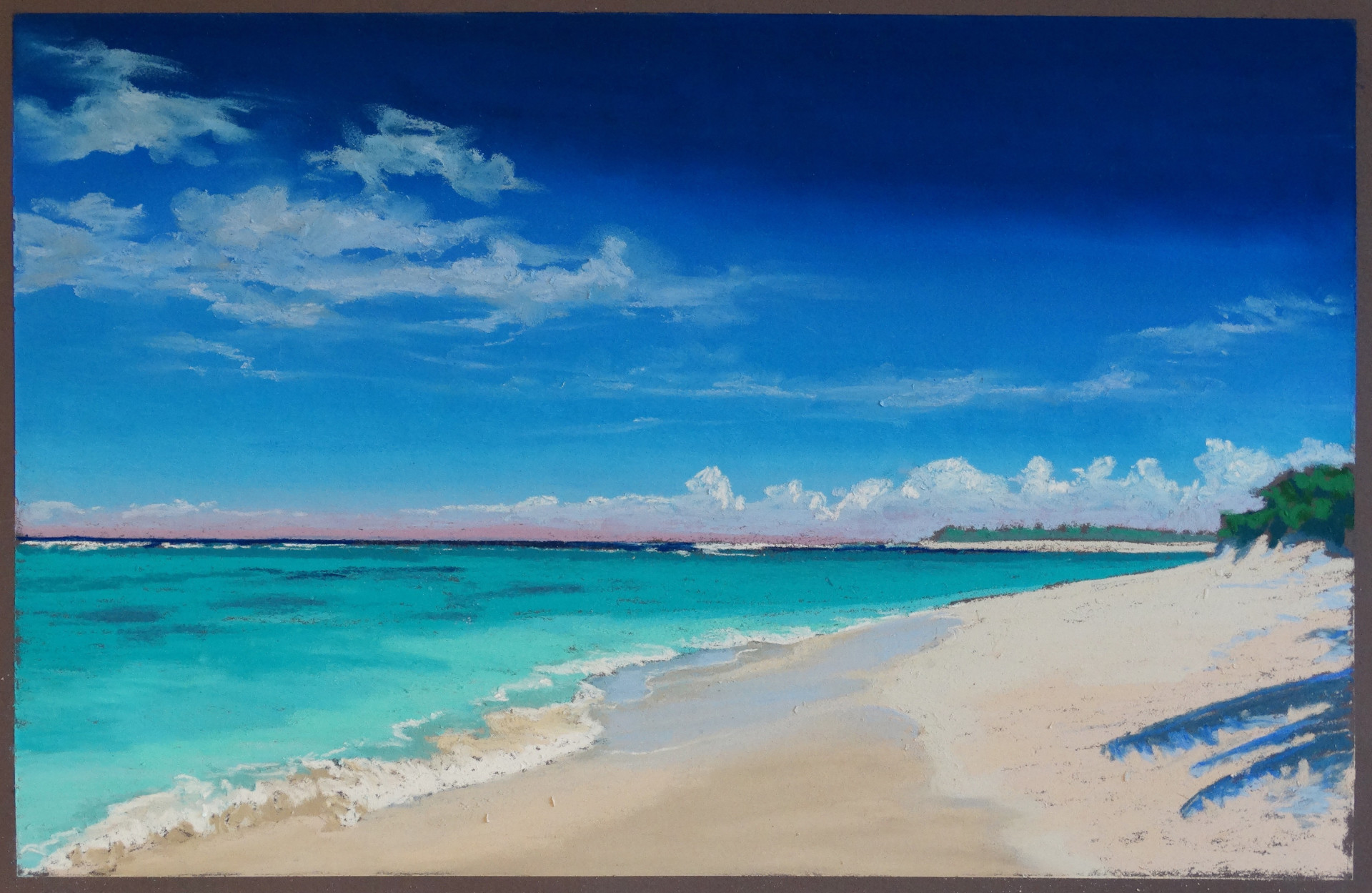 pastel of BVIs, bright sun on turquoise blue ocean